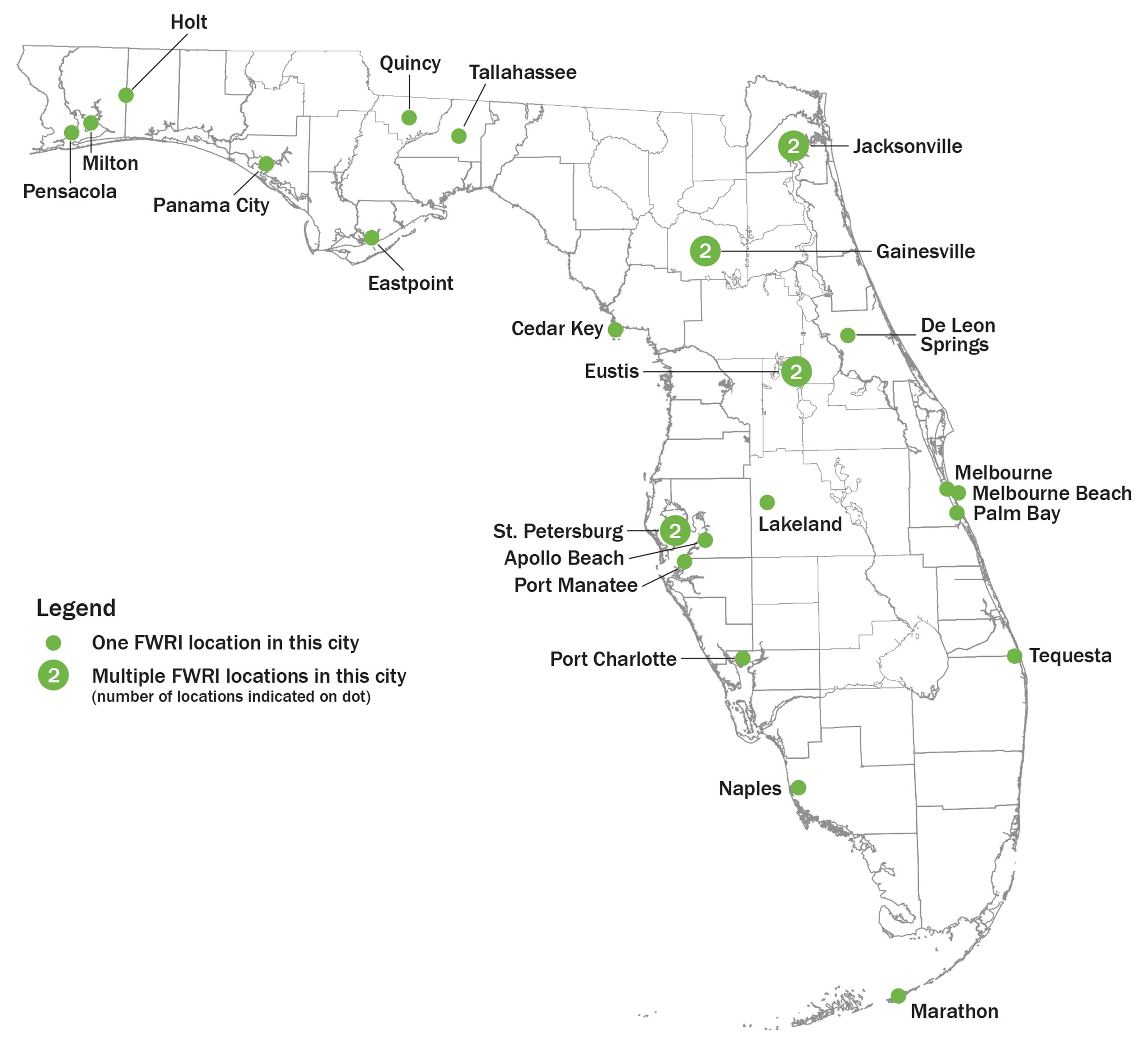 map of Florida with locations marked