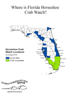 map of Florida showing locations of horseshoe crab watch program