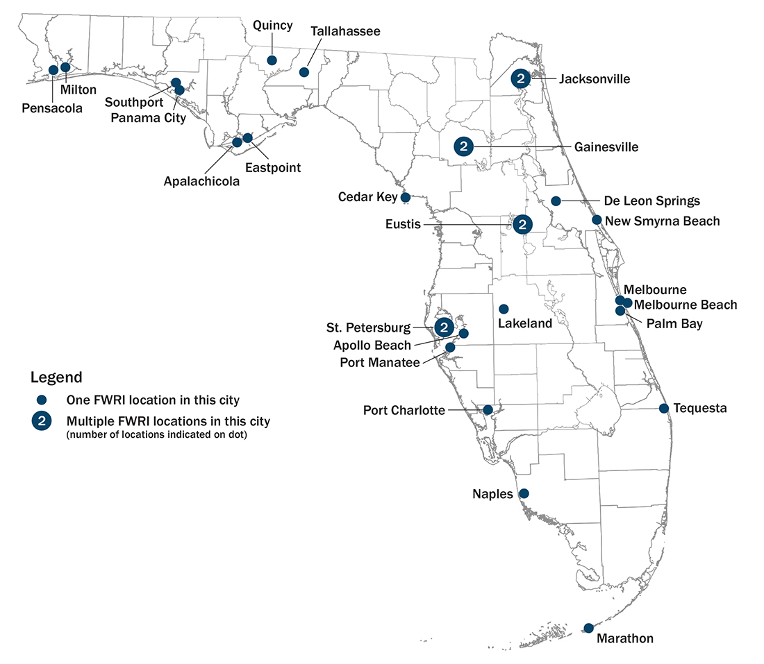 map of Florida with laboratory locations marked